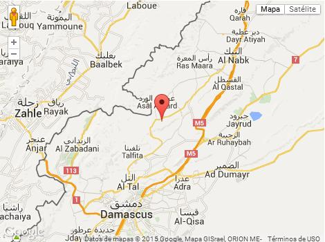 Mapa bombardeo contra misiles para hizbullah en Siria
