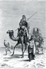 Benjamín de Tudela en el Sahara (Dumouza, grabado del siglo 19)