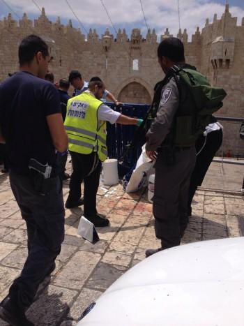 Apulado policia Puerta de Damasco
