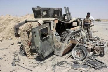humvee americano usado por el ISIS como coche bomba