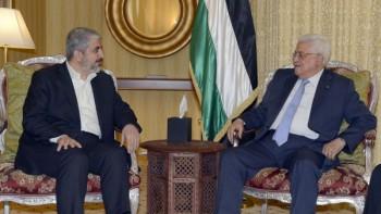 Mahmmud Abbas PM PA y Khaled Meshaal de Hamas en Qtar