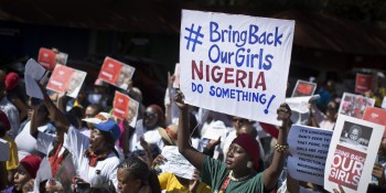 South Africans protest in solidarity against the abduction three weeks ago of hundreds of schoolgirls in Nigeria by the Muslim extremist group Boko Haram and what protesters said was the failure of the Nigerian government and international community to rescue them, during a march to the Nigerian Consulate in Johannesburg, South Africa Thursday, May 8, 2014. The kidnapping has ignited a viral social media campaign that has brought renewed attention to Boko Haram's campaign of violence, and protests around the world. (AP Photo/Ben Curtis)