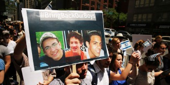 NEW YORK, NY - JUNE 16:  People gather for a vigil for the three missing Israeli teens outside of the Israeli Consulate on June 16, 2014 in New York City. According to the Israeli defense Forces (IDF), Gilad Shaar (16) Naftali Frenkel, (16) and Eyal Yifrach (19) have been missing since late Thursday or Friday and were last seen around Gush Etzion. Israeli soldiers have detained over 150 Palestinian suspects in the search for the three teens.  (Photo by Spencer Platt/Getty Images)