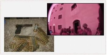 A la derecha: Detención de la célula en Silwad (Portavoz de Tzáhal, 19 de julio de 2015). A la izquierda: El revólver usado para el atentado y municiones que se encontraron en poder de los integrantes de la célula (medios de comunicación del Servicio de Seguridad General, 15 de julio de 2015).
