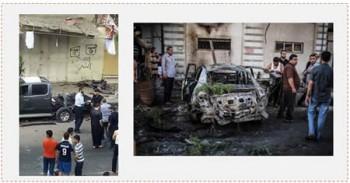 A la derecha: Uno de los coches que explotaron. A la izquierda: Contraseñas de ISIS en la pared cerca del lugar de la explosión (página facebook PALDF, 19 de julio de 2015)