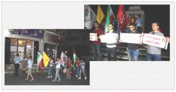 A la derecha arriba: Las banderas de Hezbollah y de Irán en una manifestación de apoyo de activistas del FPLP (página facebook de la red de comunicaciones Tierra Santa, 16 de julio de 2015)