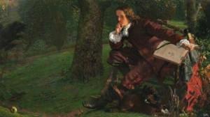 Una imagen idealizada de Newton pintada por Robert Hannah en la década de 1850.