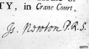 Firma de Isaac Newton en una invitación de la Royal Society cuando ya era presidente.