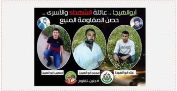 """Cartel publicado por Hamás en el que se ve la fotografía de Majdi Abu al – Hija (en el centro). Más arriba se lee: """"Abu al – Hija...familia de los mártires y los presos, impenetrable batería de la resistencia"""". En el centro están las fotografías de los tres detenidos de la familia Abu al –Hija a su lado las fotos de los hermanos de Majdi , dos activistas de Hamás que murieron en 1994. Debajo de las fotografías se ve el símbolo de Hamás y el símbolo de la campaña """"a tus órdenes al Aqsa"""" (página PALDF, 1 de septiembre de 2015)"""