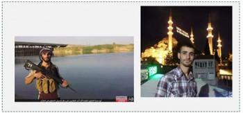 Fotografías de la página facebook de Abdulla Al Jami (Abu Hamza Abdulla). A la derecha: Durante su estadía en Estanbul, Turquía. A la izquierda: Como activista de ISIS en Irak (página facebook ابوحمزةعبدالله, 26 de junio de 2015)