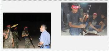 A la derecha: Participantes en el campamento de verano del brazo militar del FDLP. A la izquierda: Visita de Ziyad Jarghoun, miembro de la oficina política del FDLP,  a los activistas del brazo militar en el norte de la Franja (página facebook de las brigadas de la resistencia nacional, 26 de agosto de 2015)