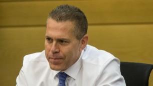 Ministro de Seguridad Pública Gilad Erdan, 18 de mayo de 2015. (Yonatan Sindel / Flash90)