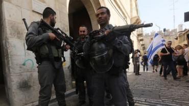Bloque en Jerusalen desde barrios muslim