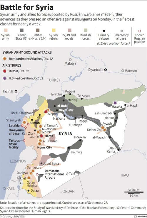 map of syria showing control by cities and areas held.