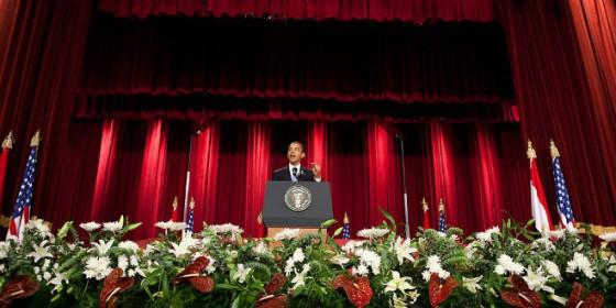 Obama entre las flores