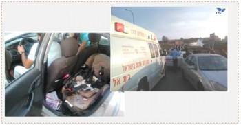 A la derecha: El escenario del evento cerca de Bet El. El coche dañado está a la derecha de la ambulancia. A la izquierda: Una silla de bebé que se incendió como resultado del lanzado de una bomba molotov hacia el vehículo (agencia de noticias francesa – fotografías, Naftali Meir, 23 de octubre de 2015)