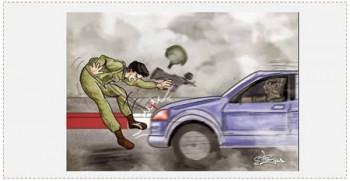 Caricatura en la página facebook de Hamás, que alienta los atentados de atropellado contra soldados de Tzáhal (página facebook PALDF, 22 de octubre de 2015)