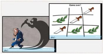 """A la derecha: Caricatura en el periódico Palestina de Hamás. En la caricatura se alientan los atentados de acuchillado. En árabe: """"La revolución de los cuchillos"""" (periódico Palestina, 23 de octubre de 2015). A la izquierda en árabe: """"Espíritu de los atentados palestinos de acuhillado"""" (periódico Palestina, 22 de octubre de 2015)"""