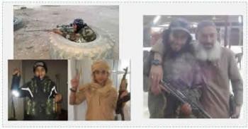 A la derecha: Abdul Hamid Abuad con otro activista de ISIS. A la izquierda: Abdul Hamid Abuad con uniforme de batalla. A la izquierda abajo: Younis, el hermano menor de Abdul Hamid, durante su estadía en Siria (Al Arabiah, 16 de noviembre de 2015)