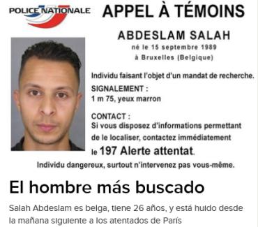 ABDESLAM SALAH ÚNICO HUIDO DE LOS ATENTADOS DE PARÍS