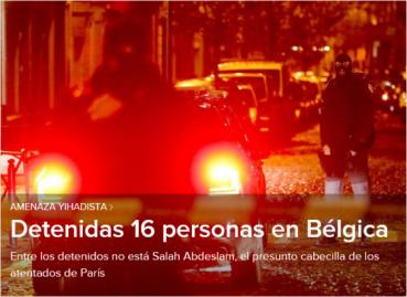 AMENAZA JIHADISTA 16 DENTENIDOS EN BELGICA