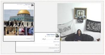 """A la derecha: Taher Fanoun con un trasfondo de banderas del califato musulmán (página facebook de Taher Fanoun, 2 de junio de 2015). En el centro: Una publicación diez minutos antes del atentado con su primo donde se lee: """"Que la paz sea con ustedes...adiós"""" (página facebook de Taher Fanoun, 5 de diciembre de 2015). A la izquierda: Una publicación de media hora antes de la realización del atentado y en la que se lee: """"Avergüenzense que dejaron..."""" En la publicación se ven fotografía de las fuerzas de seguridad en el Monte del Templo, y fotografías de mujeres terroristas que murieron durante la realización de atentados (página facebook Taher Fanoun, 5 de diciembre de 2015)"""