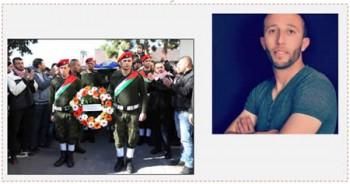 A la derecha: Abd Alrahaman Ibrahim al Barghouti (watanserb.com, 4 de diciembre de 2015). A la izquierda: Ceremonia de entierro militar oficial organizada por la Autoridad Palestina para el terrorista (WAFA, 5 de diciembre de 2015)