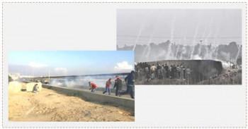 A la derecha: Enfrentamientos entre palestinos y las fuerzas de Tzáhal en el este de la ciudad de Gaza. A la izquierda: Enfrentamientos entre palestinos y fuerzas de Tzáhal cerca del cruce Erez (página facebook Gaza ALAN, 11 de diciembre de 2015)