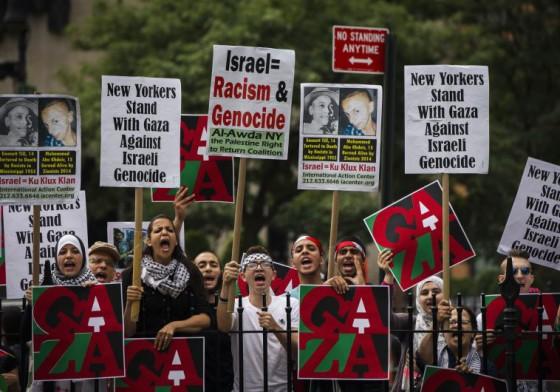 Manifestantes pro-palestinos encontra de israel en NY