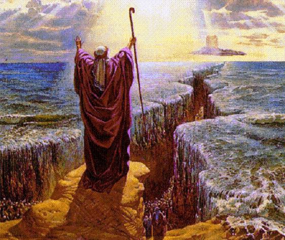 Moshe abriendo las aguas del mar Rojo