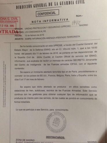 NOTA INFORMATIVA ATENTADO TERRORISTA  MUSLIM GUARDIA CIVIL