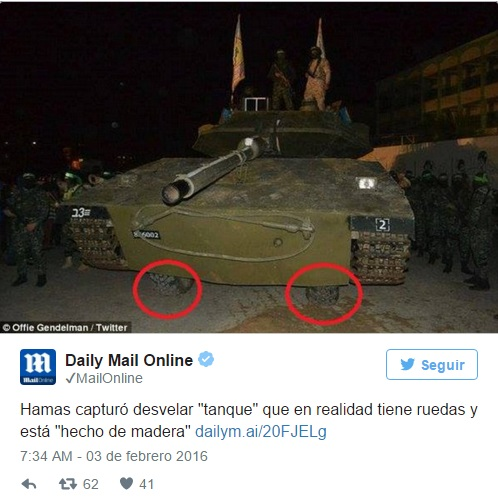Twttr de Daily Mail Online sobre tanque falso de Hamas