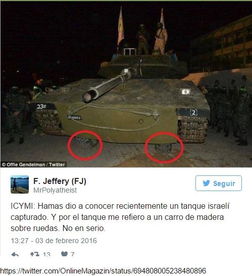 Twttr de F. Jeffery portavoz del PM sobre tanque falso de Hamas