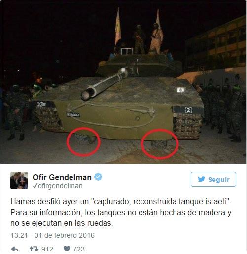 Twttr de Ofir Gendelman portavoz del PM sobre tanque falso de Hamas