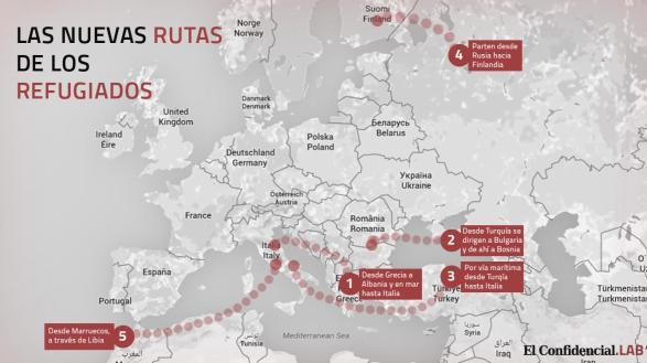 Las nuevas rutas de los refugiados. (El Confidencial.LAB)