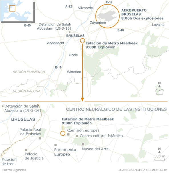 Mapa atentados de Bruselas 22-3-16